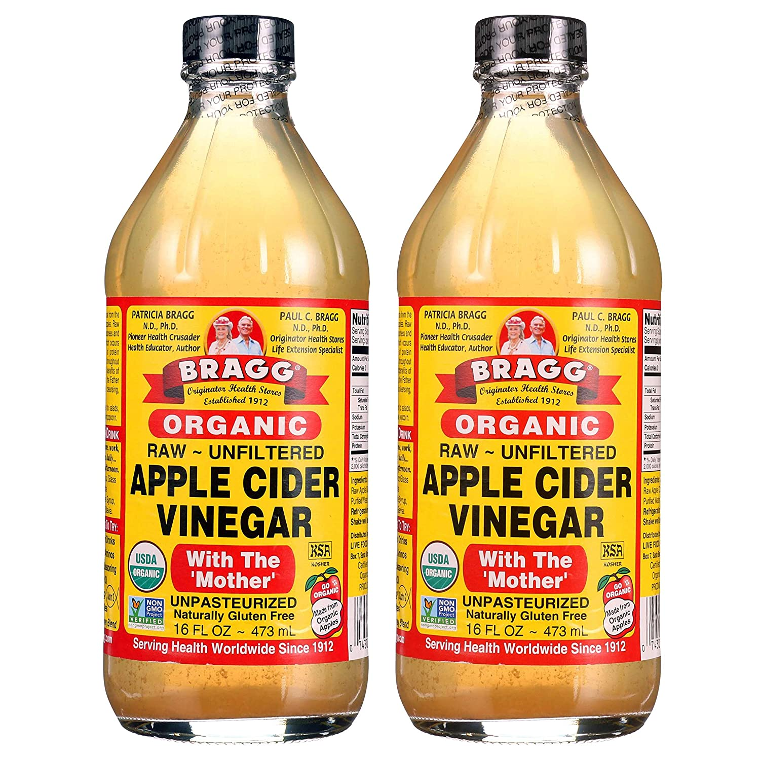 Bragg Organic Raw Unfiltered Apple Cider Vinegar with die Mother, 16 ounce, 2 Pack