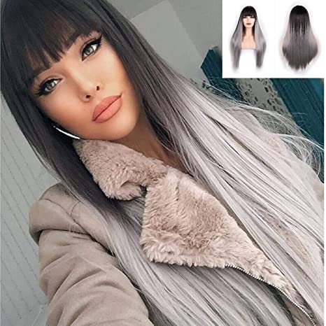 Mssqueen Silky Long Straight Wig For Women Black To Grey Synthetic Wig With Bangs High Temperature Natural Looking Costume Full Wigs by Missqueen