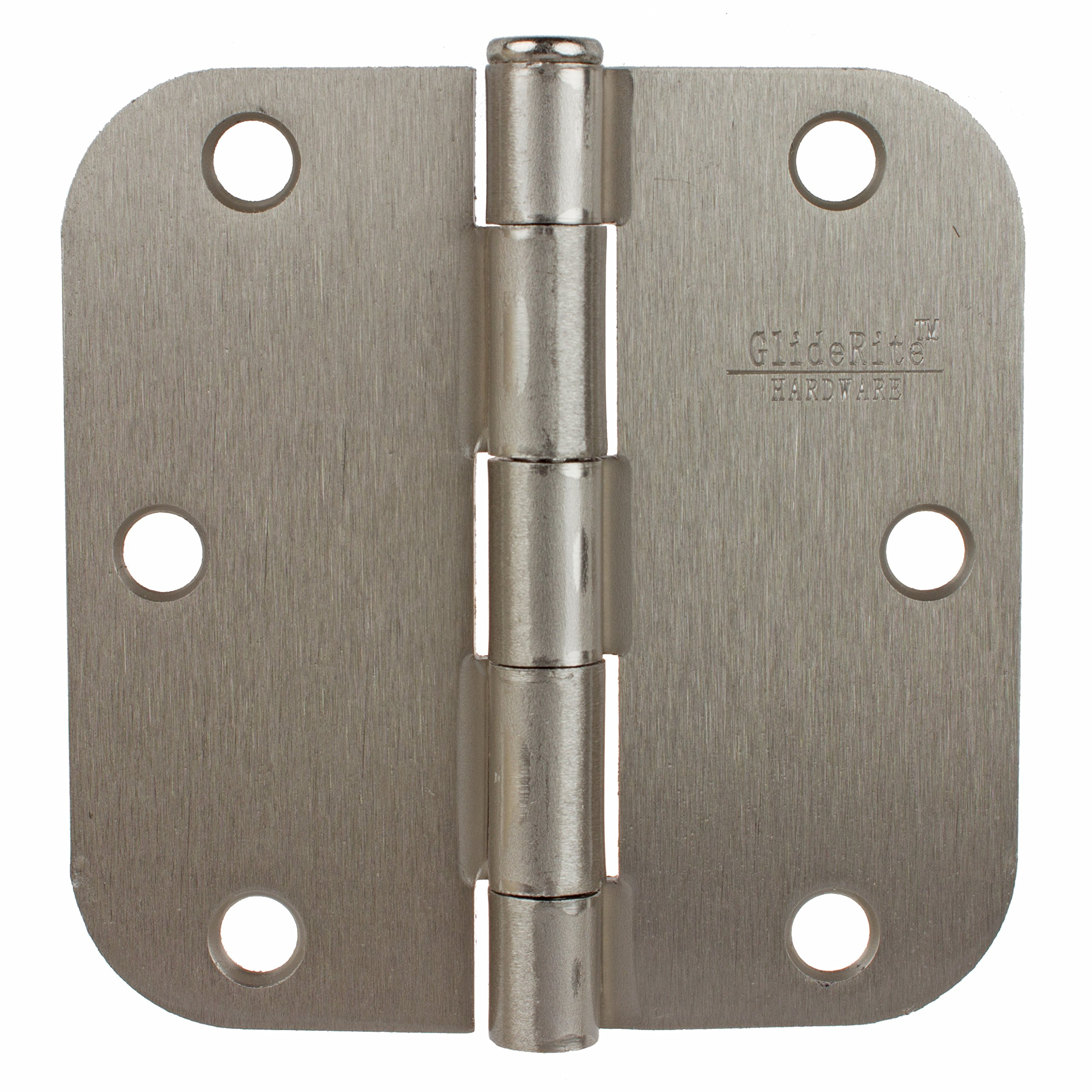 GlideRite Hardware 3558-SN-100 3.5 inch steel Door Hinges 0.625 inch Radius Satin Nickel Finish 100 Pack