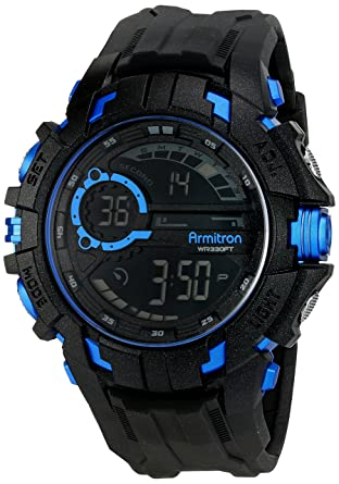 a6f812dc1 Amazon.com: Armitron Sport Men's 40/8335BLU Blue Accented Digital  Chronograph Black Resin Strap Watch: Watches