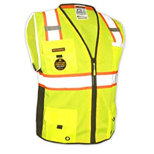 KwikSafety (Charlotte, NC) BIG KAHUNA (11 Pockets) Class 2 ANSI High Visibility Reflective Safety Vest Heavy Duty Mesh with Zipper and HiVis for OSHA Construction Work HiViz Men Yellow Black Large