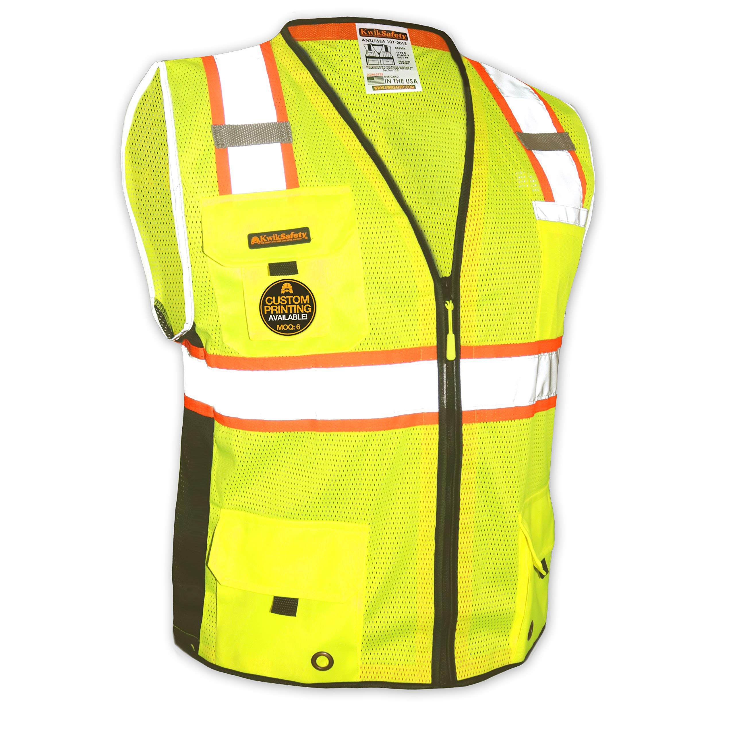 KwikSafety (Charlotte, NC) BIG KAHUNA (11 Pockets) Class 2 ANSI High Visibility Reflective Safety Vest Heavy Duty Mesh with Zipper and HiVis for OSHA Construction Work HiViz Men Yellow Black Small