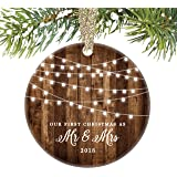 """First Christmas as Mr & Mrs Ornament 2018, Rustic 1st Married Christmas Ornament, First Married, 3"""" Flat Circle Porcelain Ceramic Ornament w Glossy Glaze, Gold Ribbon & Free Gift Box 