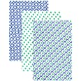 Hudson Baby Unisex Baby Cotton Muslin Swaddle Blankets, Blue Dots 3-Pack, One Size
