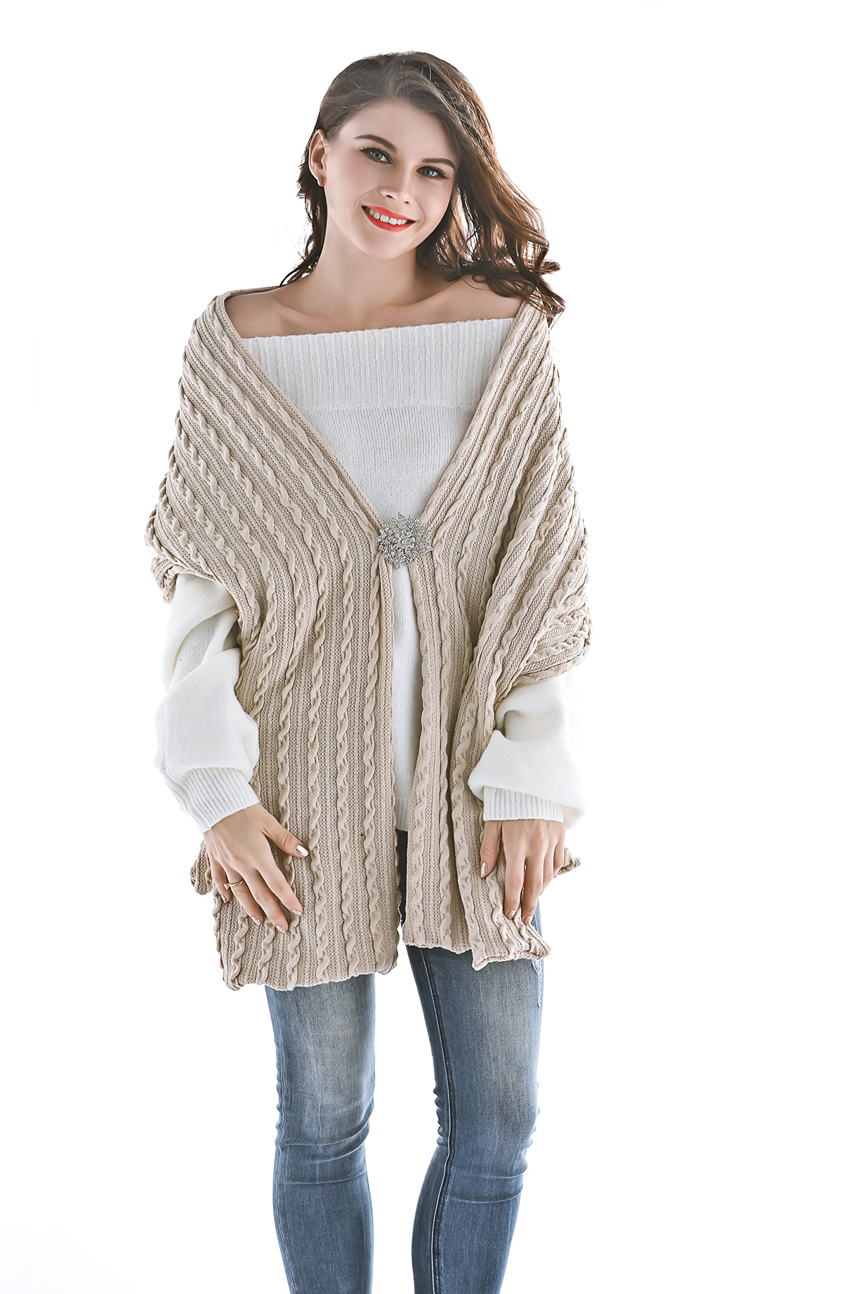 Aukmla Women Knitted Scarf Winter Shawls Wraps Long Pashminas Poncho with Brooch (Beige)