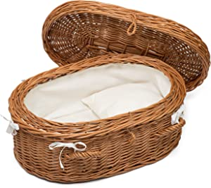 Prestige Wicker Luxury Willow Cat Pet Casket, Various Sizes, Pillow included and Lined with White Fabric