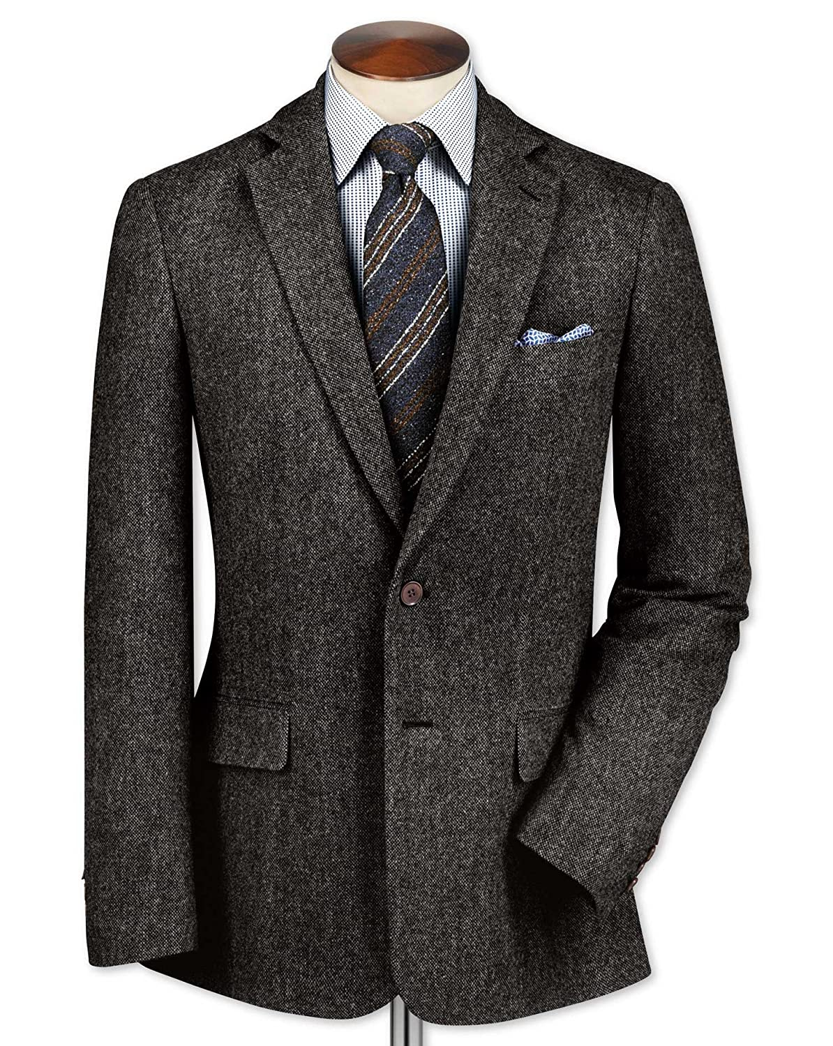 Charles Tyrwhitt Classic fit charcoal lambswool hopsack jacket - Size: 38 - Color: GREY
