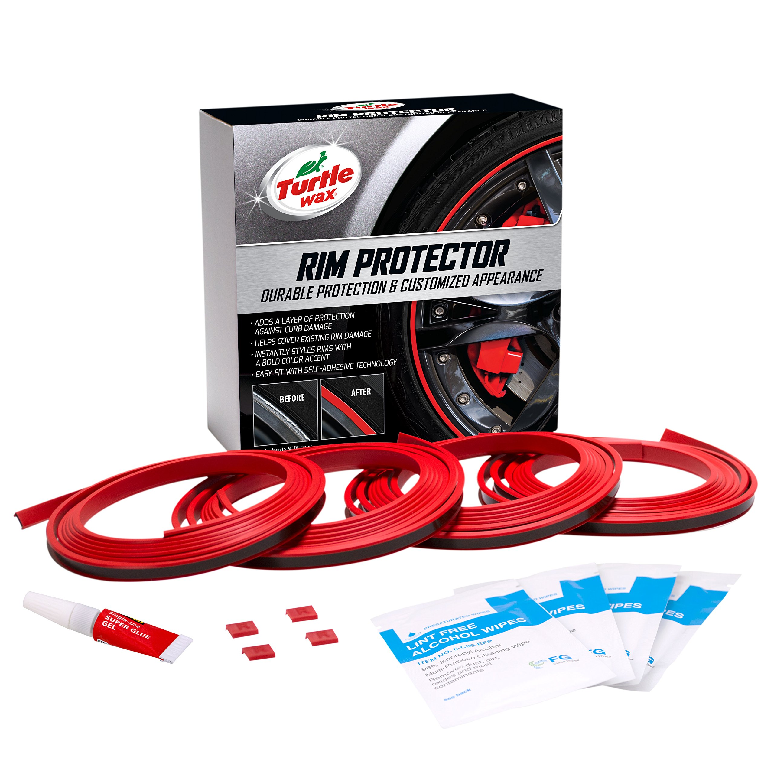 Turtle Wax 50698 Premium Rim Protector (Red, Set of 4)