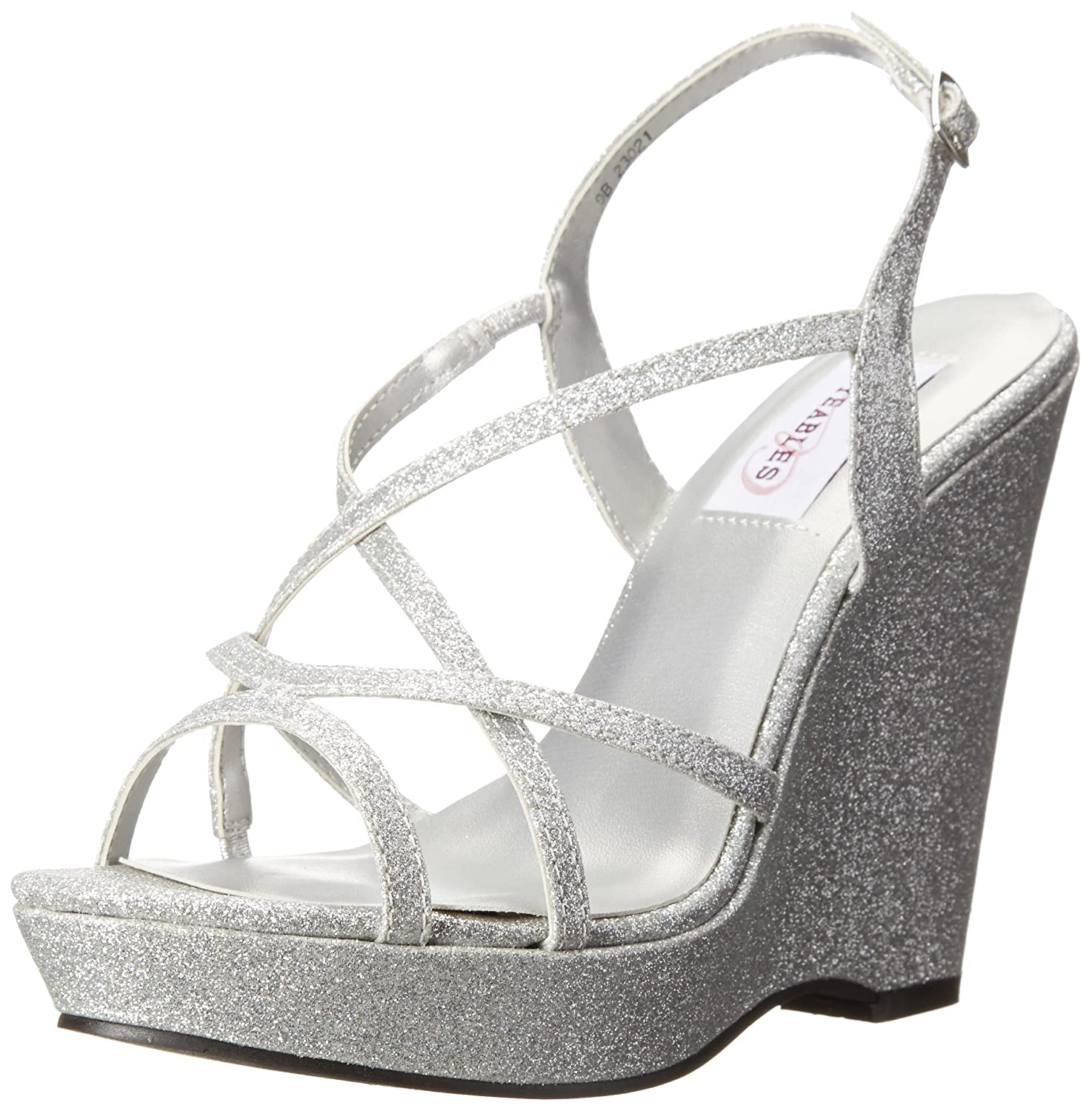 Dyeables, Inc Womens Dee Wedge Sandal B00PD00EJE 8 B(M) US|Silver