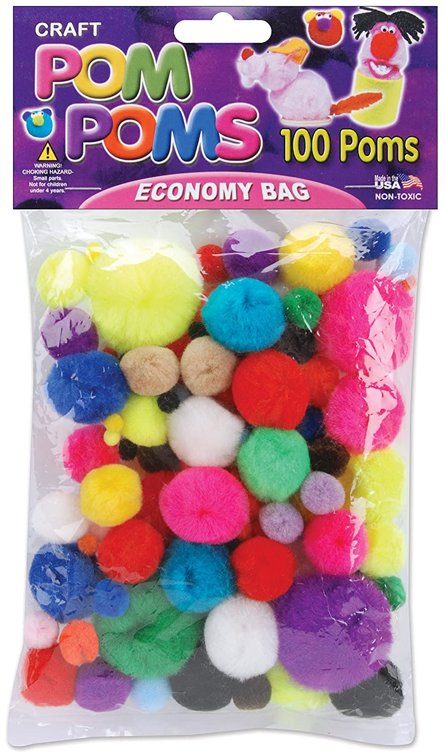 Pepperell Pom-Poms, Assorted, 100-Pack