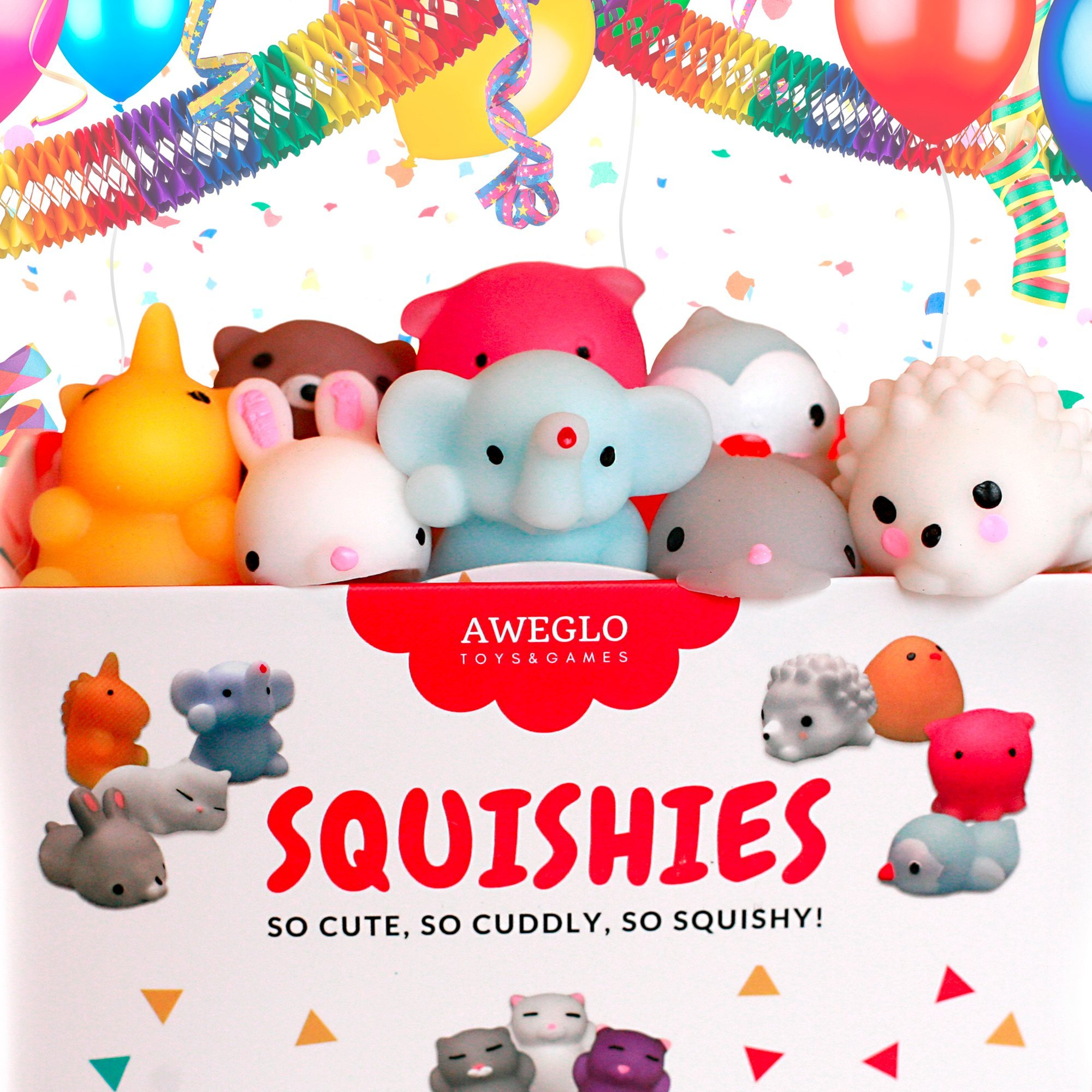 20 Mochi Squishy Toys, FREE CASE, 16 Animals 11 Colors, PARTY FAVORS AWEGLO Prime Silicone Small Mini Squishies Toy Boys Soft Kawaii Squishys Pack Kids Fidget Cat Stress Reliever No Slow Rise Sqishy's by AWEGLO Squishies (Image #6)
