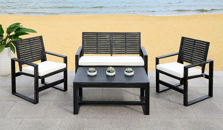Safavieh FOX6007E Collection Ozark Wash 4 Pc Living Outdoor Set, Black/Beige