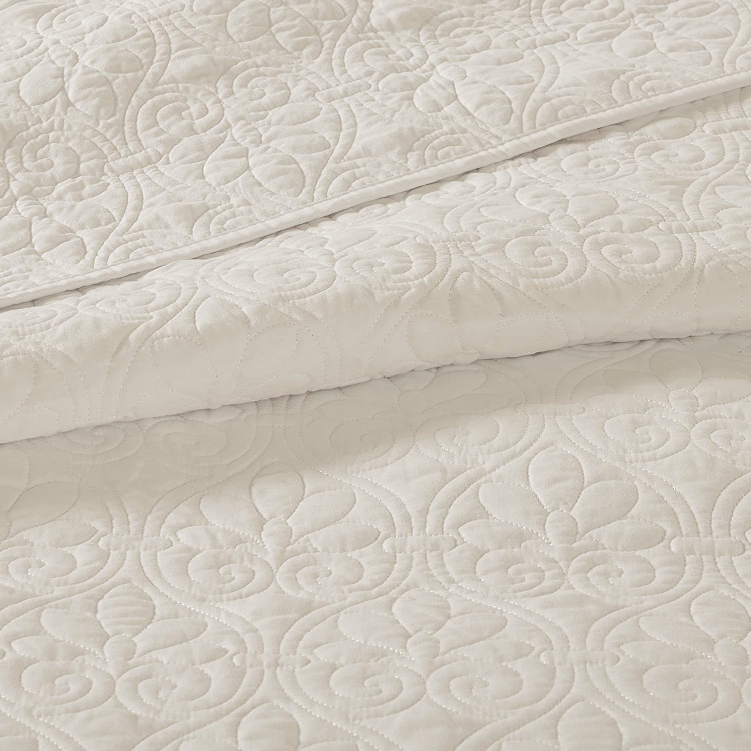 Twin//Twin XL Blue Madison Park Quebec 2 PC Coverlet Double Sided Classic Bohemian Design Cottage Style D/écor Cozy Quilt Hypoallergenic All Season Bedding-Set with Matching Shams