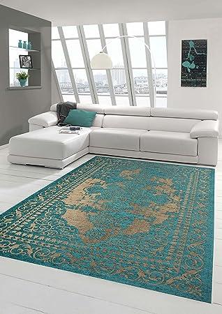 Moderner Teppich Designer Orientteppich Wohnzimmer Mit Bordre In Trkis Beige Grsse 160x230 Cm