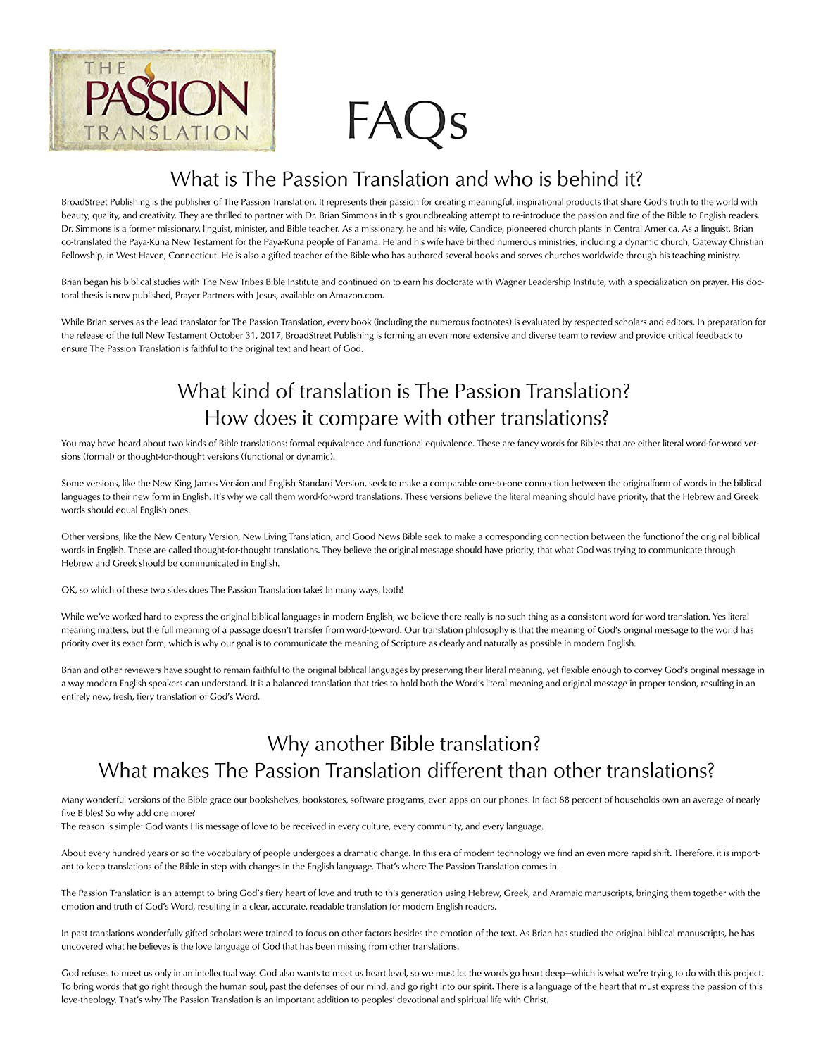 The Passion Translation New Testament Brown With Psalms Proverbs And Song Of Songs Brian Simmons 9781424555307 Amazon Office Products
