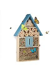 Relaxdays Casetta hotel per insetti api farfalle coccinelle da appendere, per balcone HxLxP: 8,5 x 31 x 7 cm, colorata
