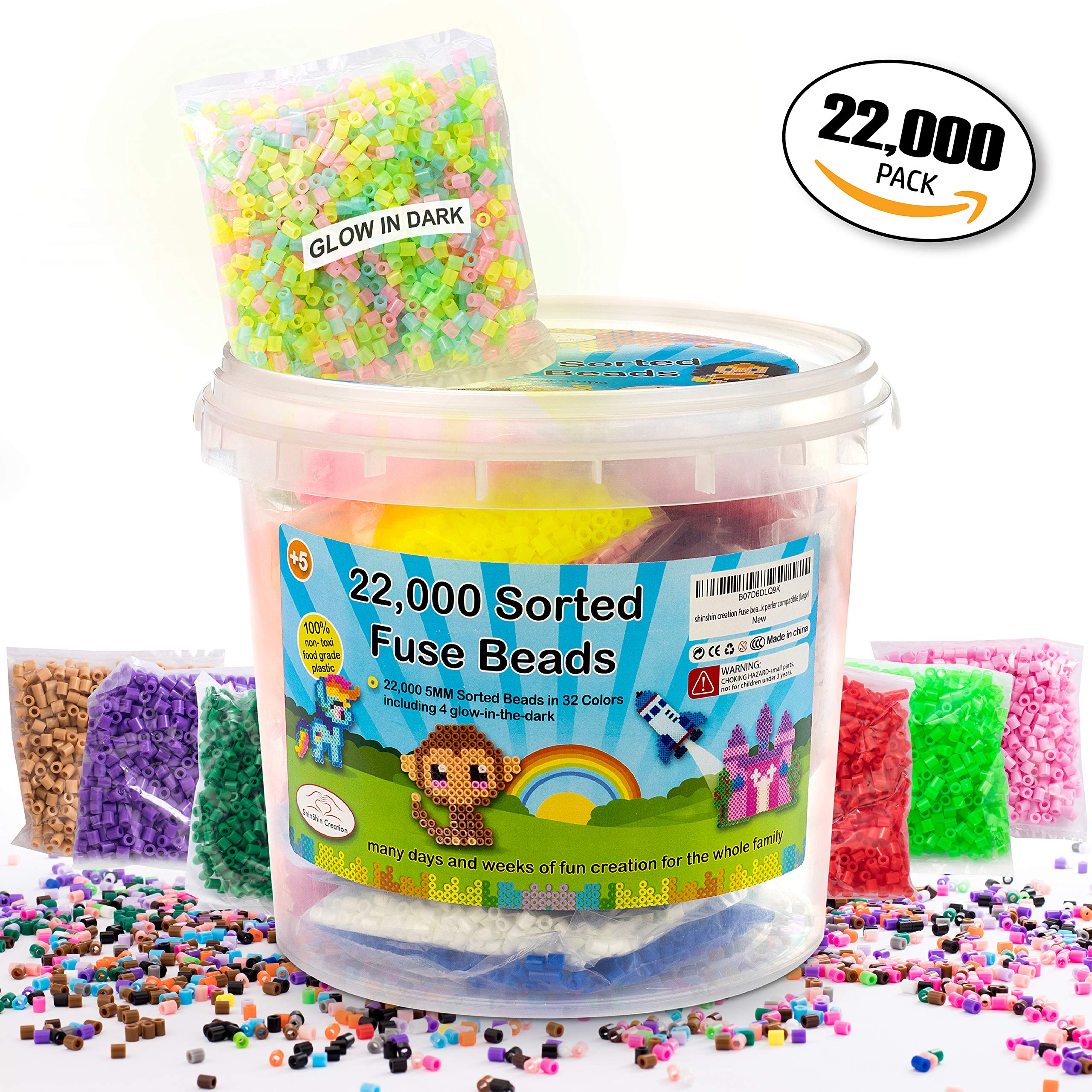 shinshin creation 22,000 Pre - Sorted Fuse Beads Bucket Size 5mm 32 Colors Including Glow in The Dark Perler Compatible