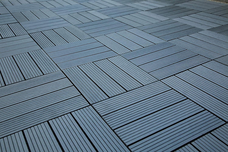 SIENOC Suelos de WPC DIY Azulejos de madera compuesto plástico al ...