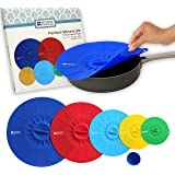 Homeway Essentials Silicone Lids - Microwave Covers, Food Covers, Bowl Covers. Suction Lids use for Pan or Skillet Lids. Boxed Gift Set. 5 Pack.