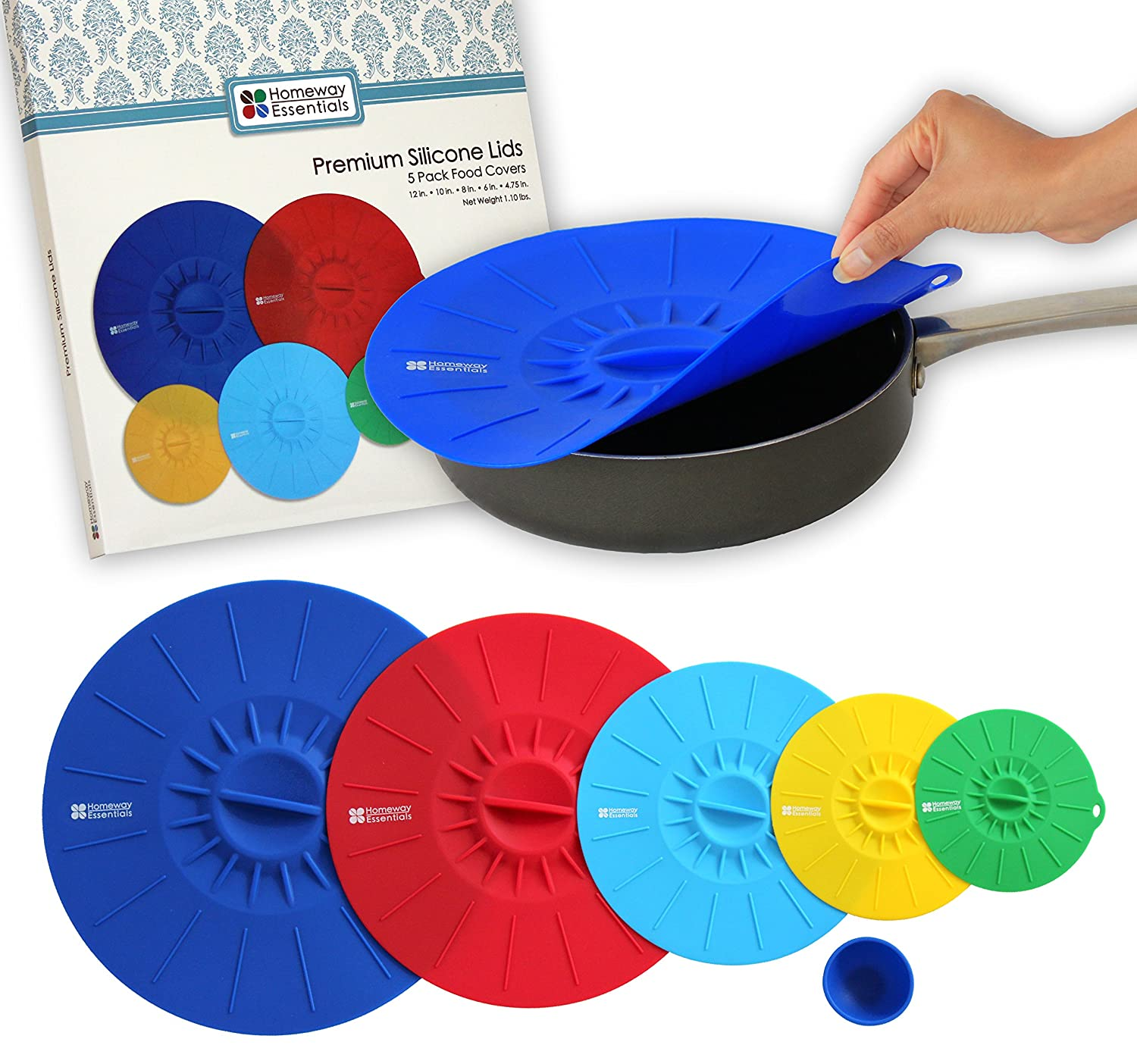 Amazon.com: Silicone Lids - Microwave Covers, Food Covers, Bowl ...