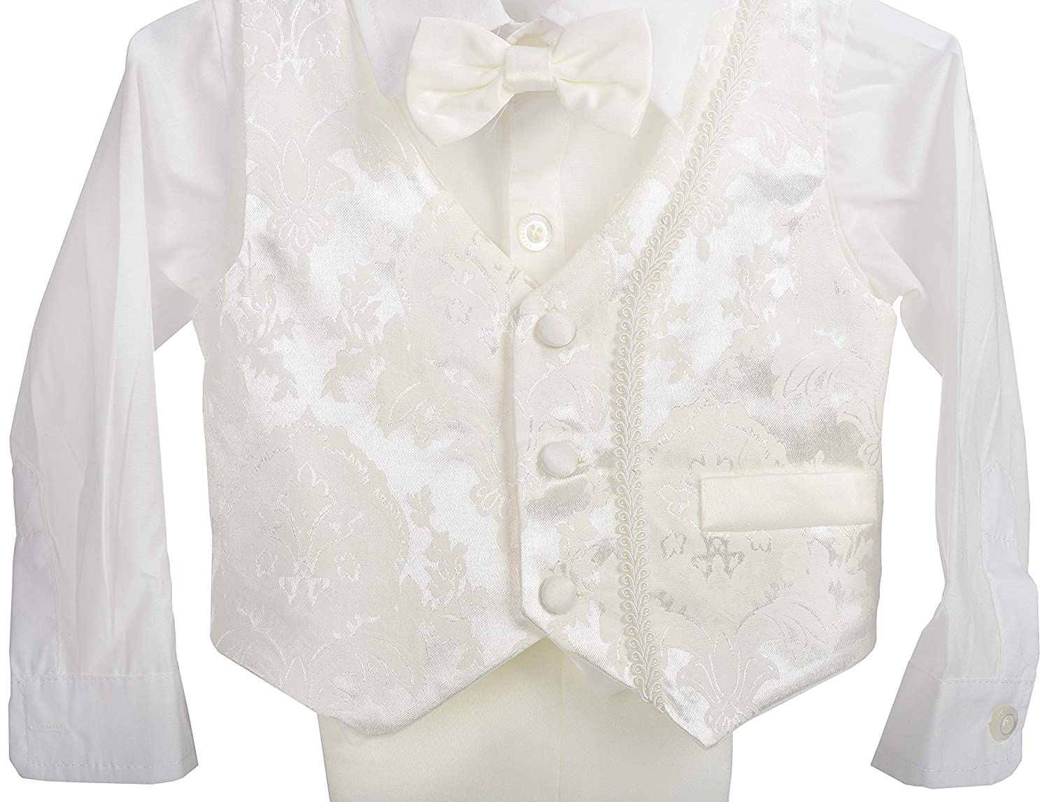 Dressy Daisy Baby Boys 4Pcs Baptism Christening Outfit /& Bonnet Wedding Suit