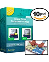 Acrodo Space Saver Packing Bags for Travel - 10-pack Rolling Compression Bags for Clothing