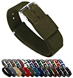 BARTON Watch Bands - Choice of Color, Length & Width (18mm, 20mm, 22mm or 24mm) - Army 18mm - Standard Length