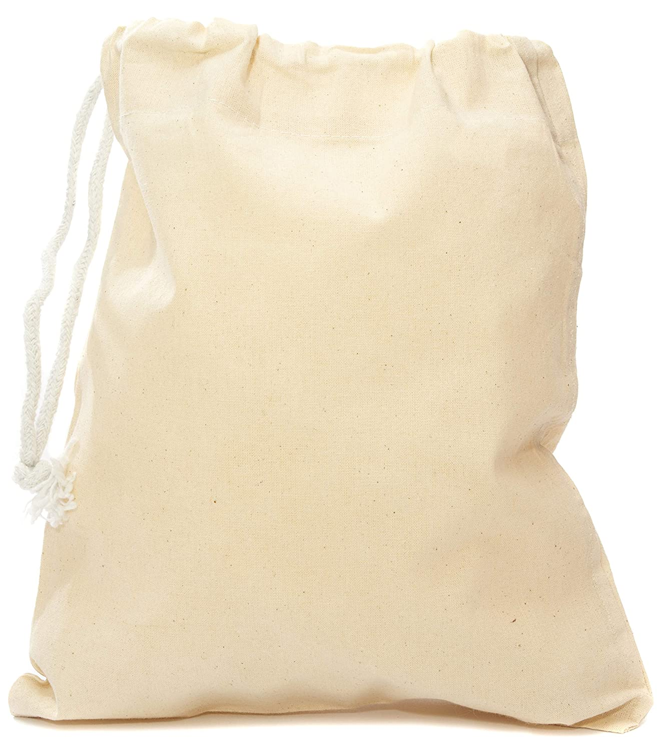 PACK of 5 - FAIRTRADE Natural COTTON Drawstring Bags. Size: 25 x 30cm (S)