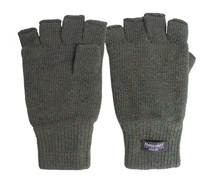 Broner Mens Fingerless Knit Glove With Thinsulate Lining Olive At