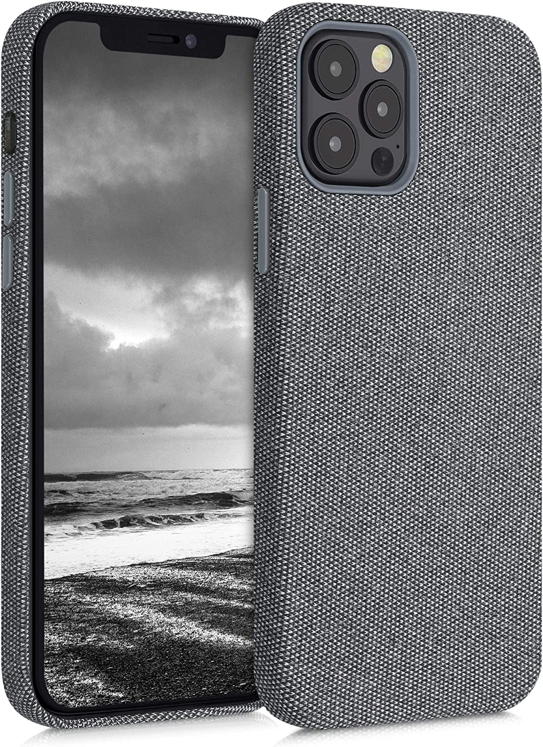 kwmobile TPU Case Compatible with Apple iPhone 12/12 Pro - TPU and Fabric Smartphone Cell Phone Cover in Canvas