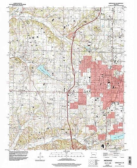 Amazon.com : YellowMaps Springdale AR topo map, 1:24000 Scale, 7.5 X ...