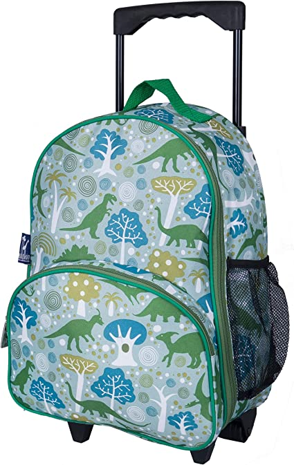 Dinosaur Land Wildkin Kids Rolling Luggage for Boys and Girls BPA-free Measures 16 x 12 x 6 Inches Carry on Luggage Size is Perfect for School and Overnight Travel Olive Kids