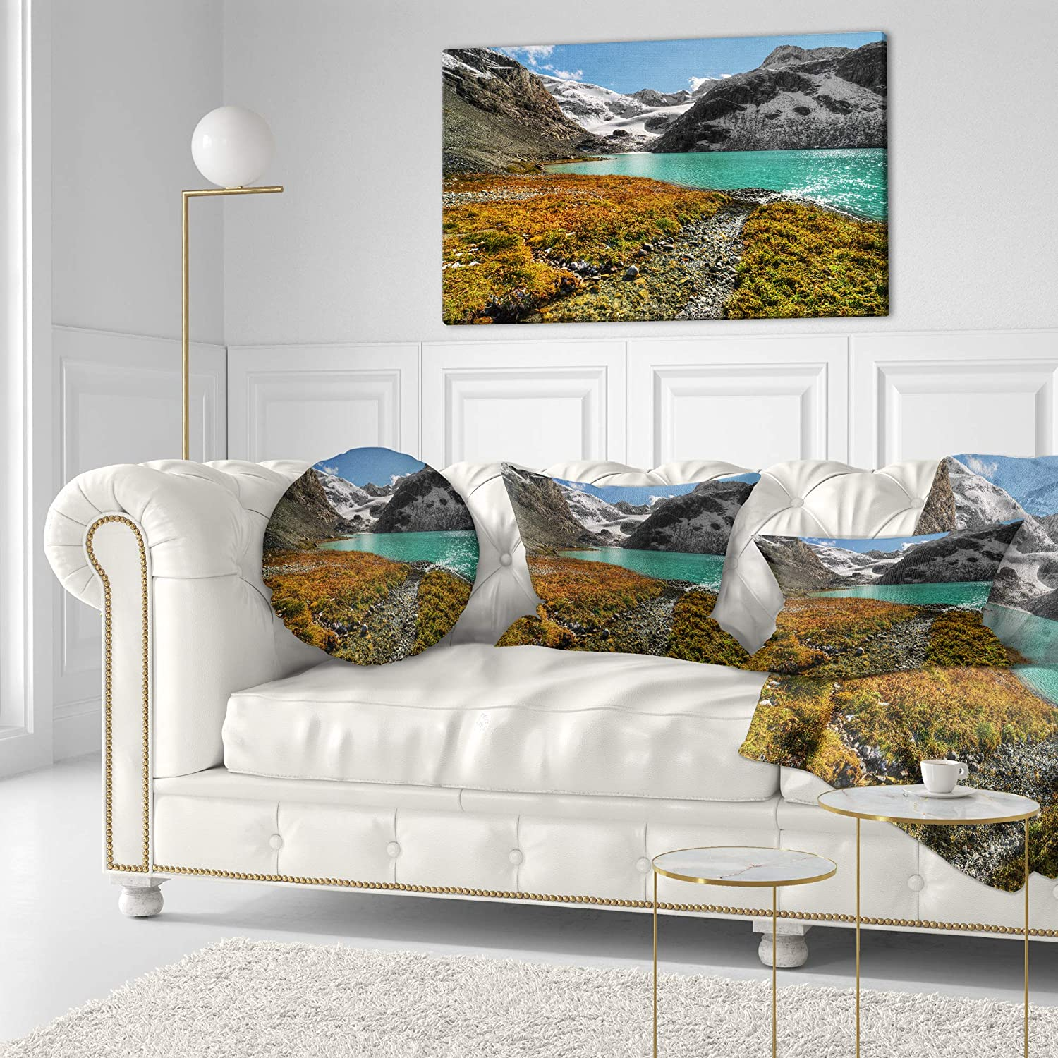 Sofa Throw Pillow 20 Designart Cu14511 20 20 C Crystal Clear Lake Among Mountains Landscape Printed Round Cushion Cover For Living Room Throw Pillow Covers Decorative Pillows Inserts Covers