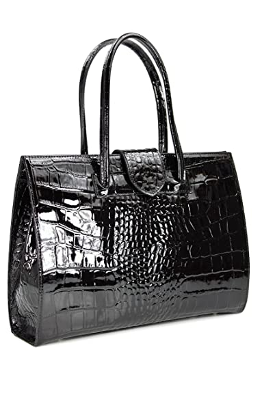 ec227e464c5 BELLI® Womens Italian Genuine Leather Handbag Business Bag Patent Leather  Croco Embossing Black - 40x30x10