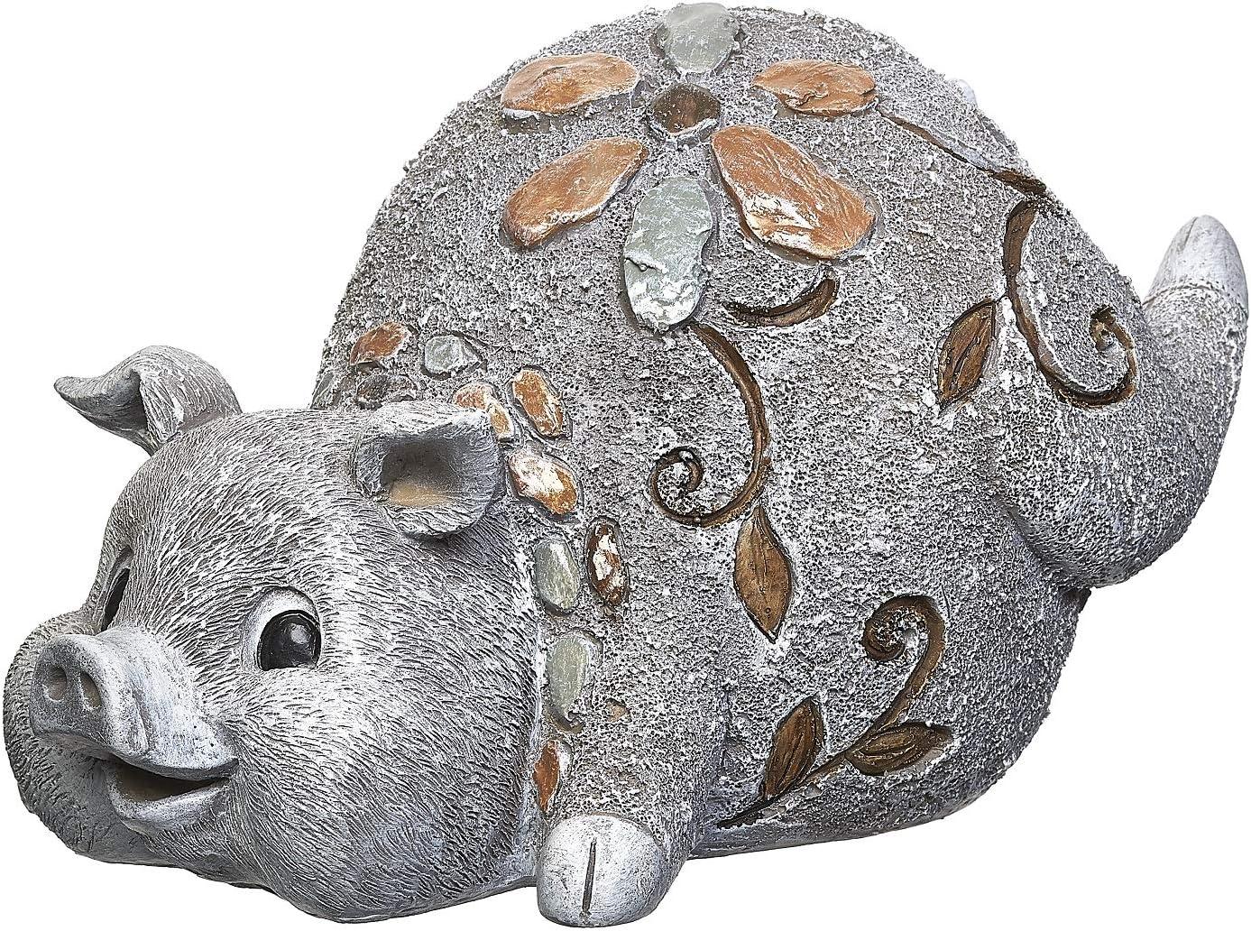 Roman Garden - Pebble Pig Statue, 6H, Garden Collection, Resin and Stone, Decorative, Garden Gift, Home Outdoor Decor, Durable, Long Lasting