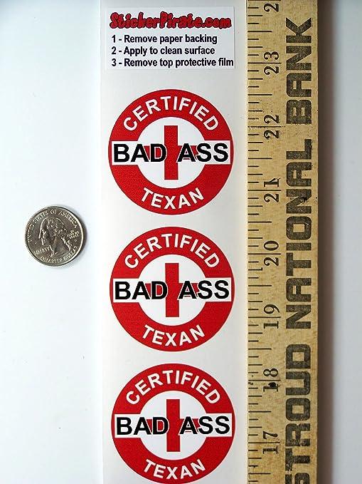 "Helmet Stickers H743 3 Red Certified Bad Ass Texan 2"" Hard Hat"