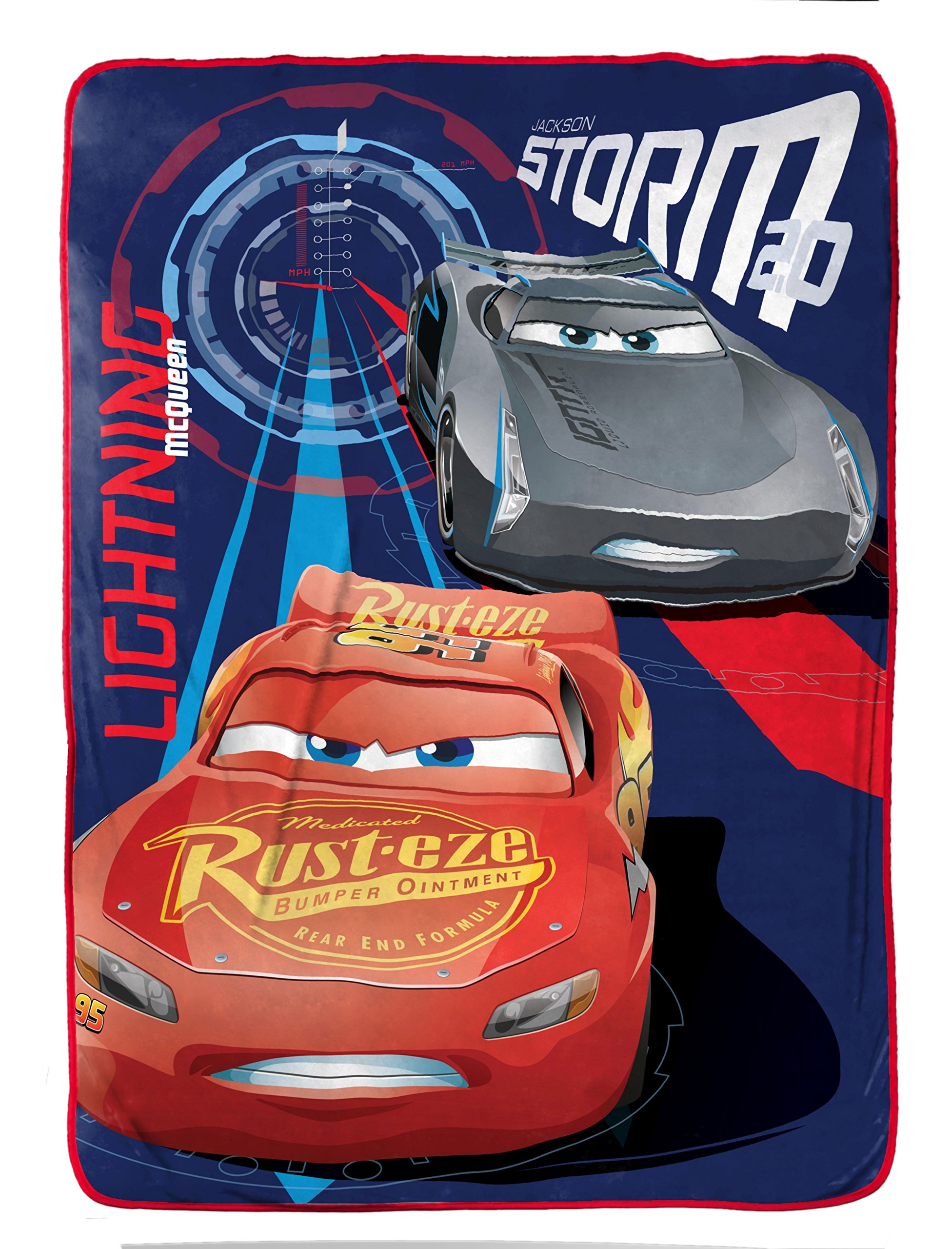 Disney/Pixar Cars 3 Movie High Tech Blue/Red Plush 62'' X 90'' Twin Blanket with Lightning McQueen & Jackson Storm (Official Disney/Pixar Product)
