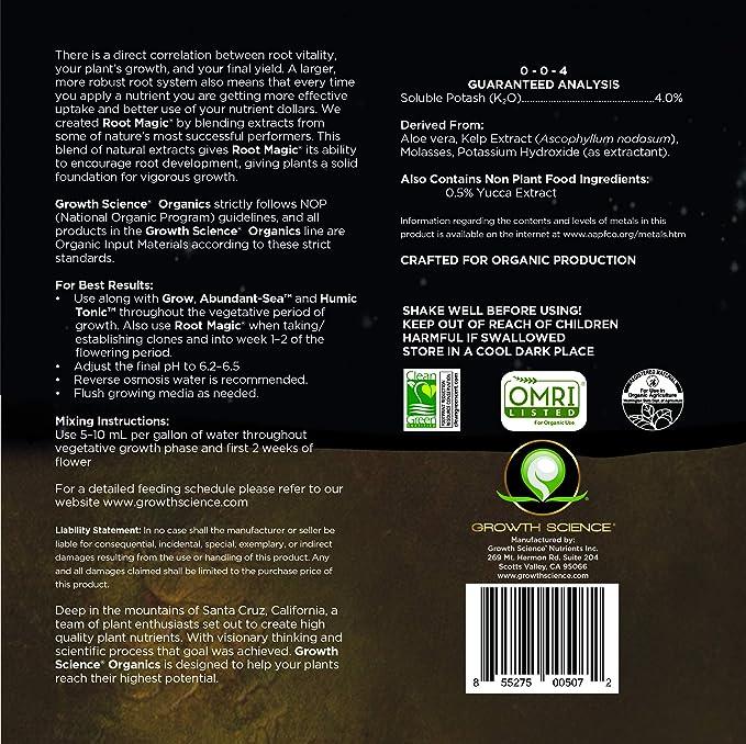 Growth Science Organics - Root Magic (0-0-4) : Root Stimulator (Quart)