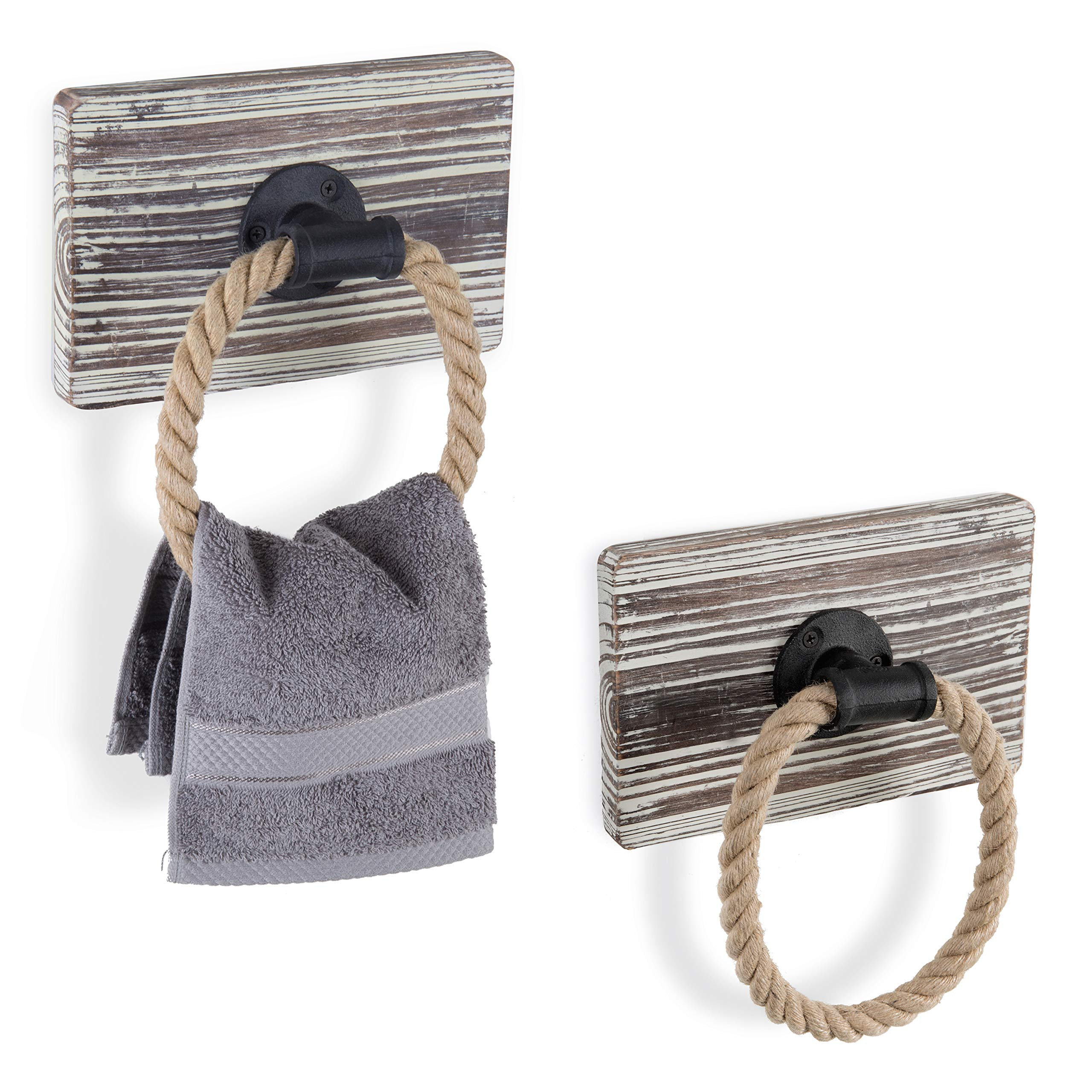 MyGift Urban Rustic Wall-Mounted Torched Wood & Rope Towel Rings, Set of 2 by MyGift