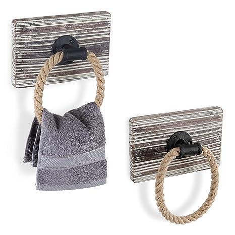 Amazon.com: MyGift Urban - Juego de 2 anillos para toallas ...