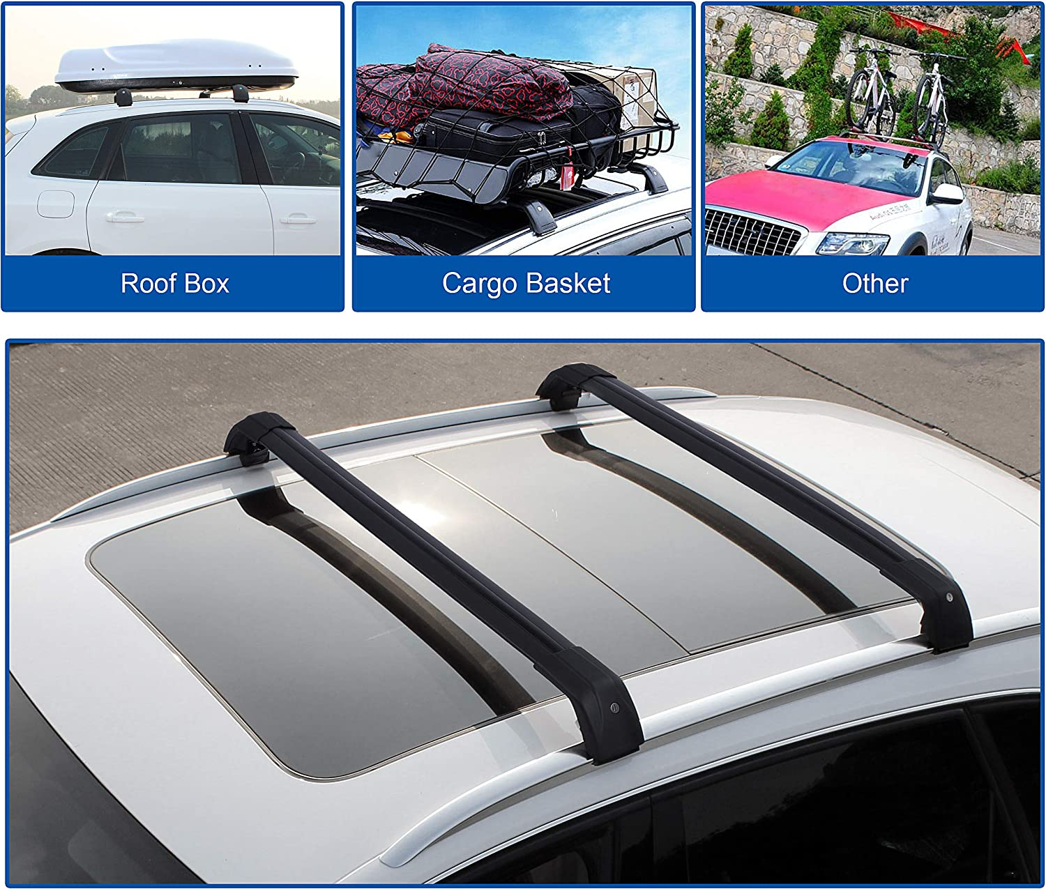 Autekcomma Roof Rack Cross Bars for 2019 Hyundai Palisade Anti-Corrosion,Aircraft Aluminum Black Matte with Anti-Theft Locks//Cargo Carrier//Luggage Carrier//Kayak Mounts
