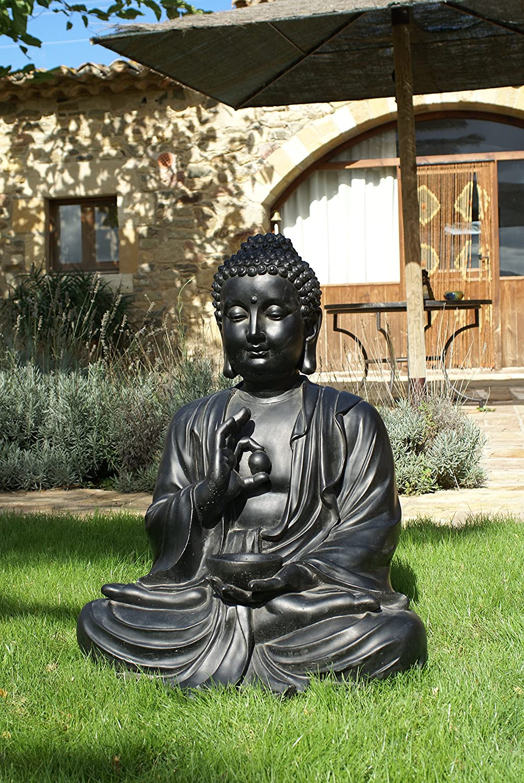 Figura DE Piedra Artificial para Jardin Buda Negro Dorado 80CM ...