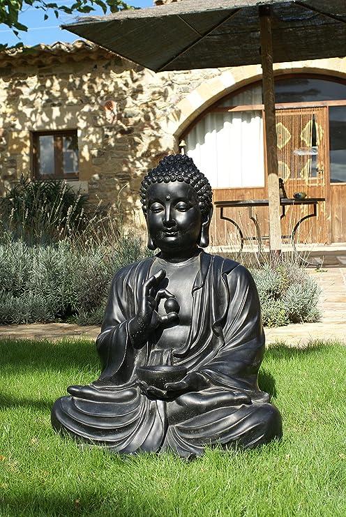 Figura DE Piedra Artificial para Jardin Buda Negro Dorado 80CM HORMIGÓN: Amazon.es: Jardín