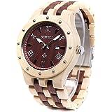 BEWELL ビーウェル 木製腕時計 メンズ カレンダー付き 夜光 天然木 アナログ腕時計 贈り物
