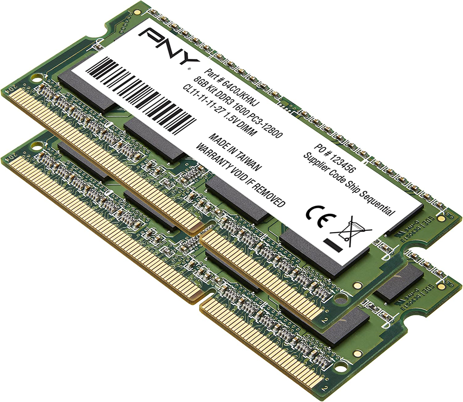 PNY Performance 8GB Kit DDR3 1600MHz CL11 Notebook (SODIMM) Memory MN8GK2D31600-Z
