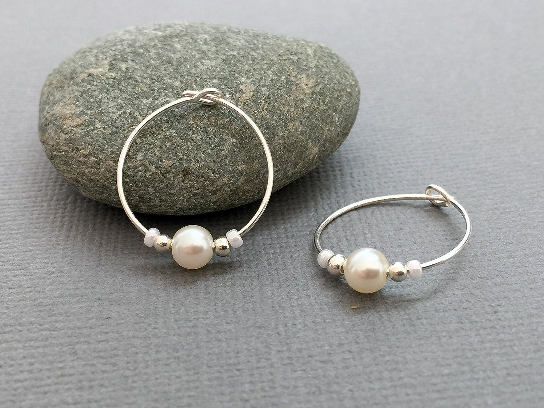 Handmade sterling silver pearl hoops - White crystal pearl earrings - Wedding earrings