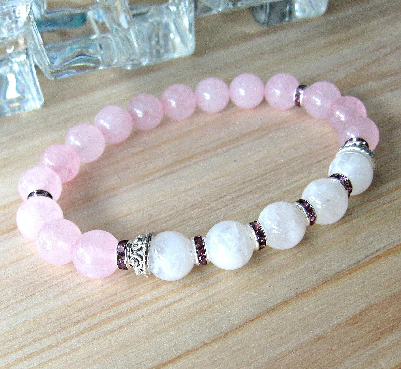 inner growth /& strengh Moonstone bracelet with Rose Quartz Gemstone mala yoga Reiki Jewelry everyday bracelet gemstone beaded mala