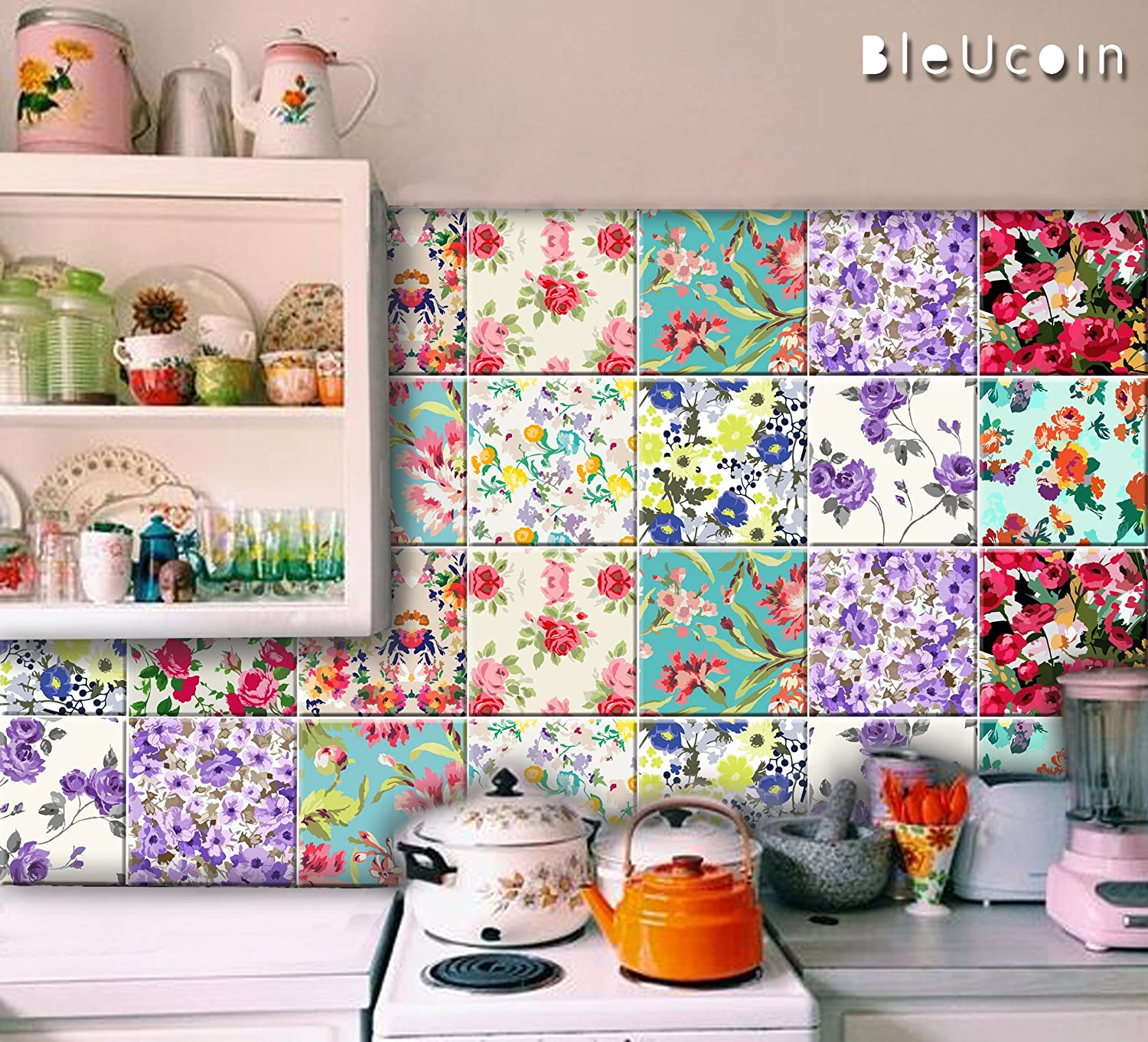 Floral Tile Stickers Peel & Stick Kitchen Bathroom Decal Removable