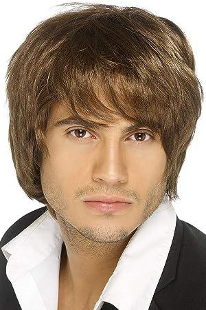 Smiffys Peluca de chico de banda de pop, marrón, estilo corto