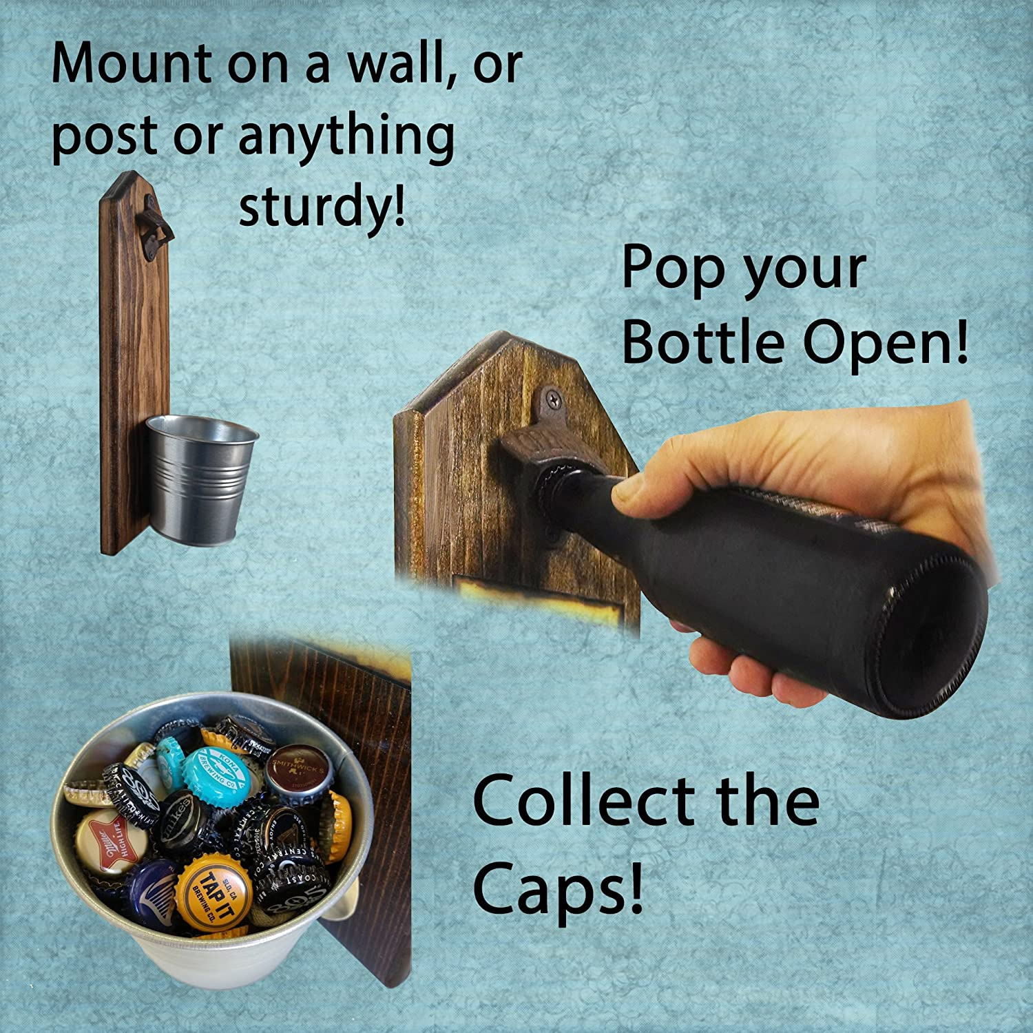 According to Chemistry, Alcohol IS a Solution Bottle Opener and Cap Catcher, Wall Mounted - 3/4